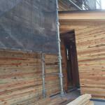 鳥飼PJT3「でんさんち」 木ずり(塗り壁の下地に使う板です。)が張り終わりました。