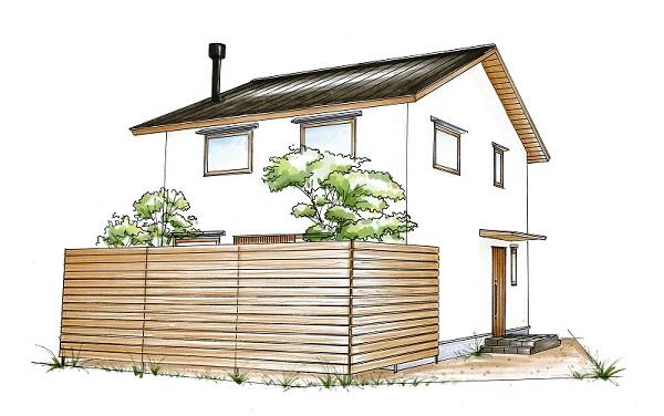 自然素材の木の家でんホームの新モデルハウス外観