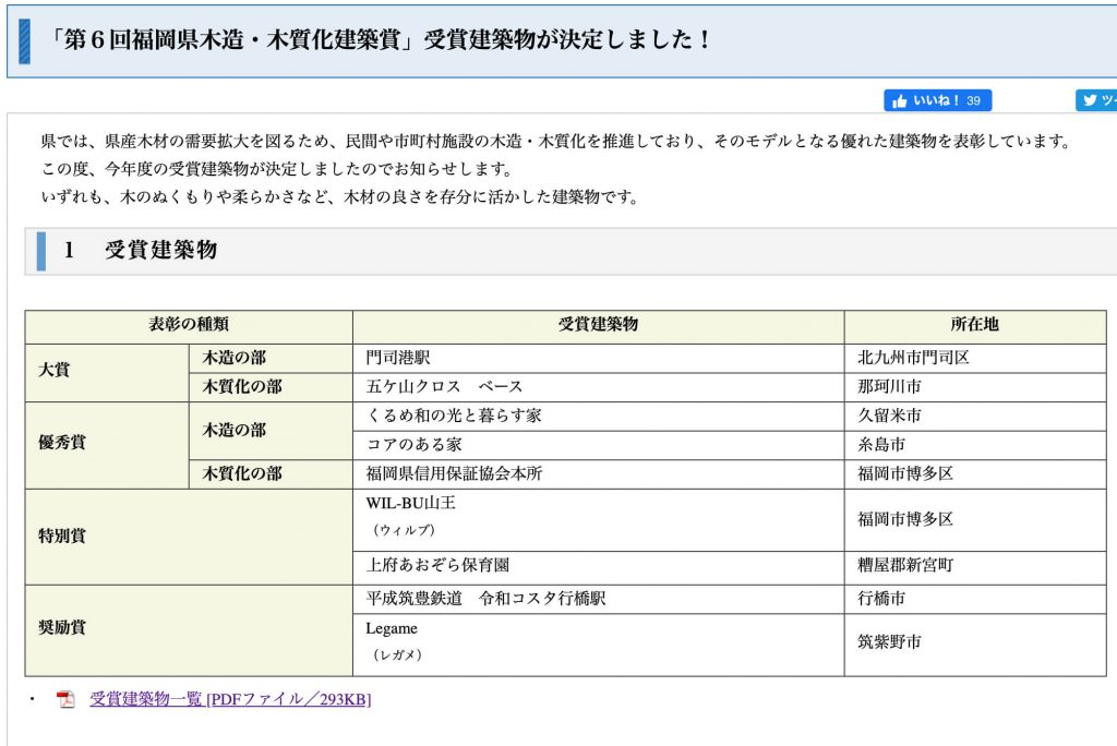 「第6回福岡県木造・木質化建築賞」受賞建築物が決定しました!