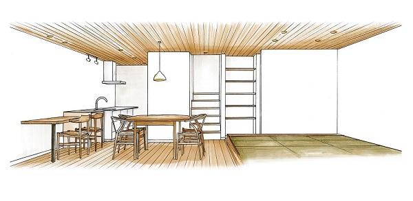 無垢の木でつくる本物の木の家でんホームの新モデルハウス内観